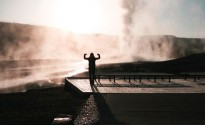 Me, Old Faithful, Sunrise - Wyoming 2008